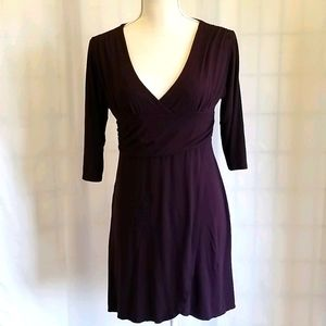 Dress Eggplant Mid Length with 3/4 Sleeves